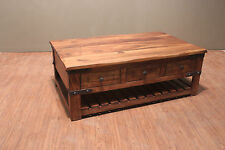 Crafters and Weavers Granville Rustic Solid Wood Coffee Table with Drawers