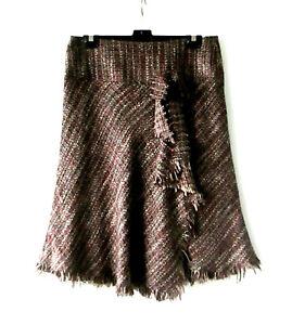 Textured Raw Weave Fringed Skirt sz 10