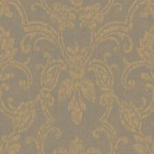 Wallpaper Romantic Damask Soot GrayTaupe Pearled Gold Metallic Hint of Bronze