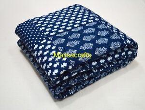 Indian Kantha Baby Quilt Bedding Blanket Cotton Blue Hand Block Print 50X60 Inch