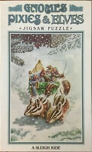 Gnomes Pixies & Elves : A Sleigh Ride - Jigsaw Puzzle - J Ewers - 1979 Vintage