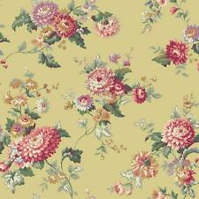 Wallpaper Large Traditional Red Floral Vine on Yellow Green with Metallic Silver