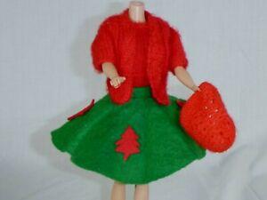 Vtg Barbie Clone Handmade Christmas 4 Pc Outfit Felt Skirt Knit Dress Sweater &