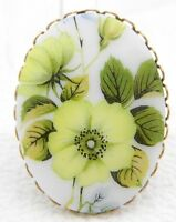 VTG Gold Tone Yellow Flower Glass Cameo Pin Brooch