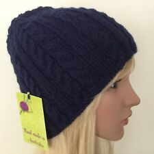 HAND KNITTED LADIES NAVY BLUE WOOL-ALPACA CABLED PANEL BEANIE ae9b2e343aad