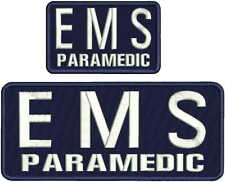 EMS PARAMEDIC EMBROIDERY PATCH 4X10 AND  3X5 HOOK ON BACK NAVY/WHITE