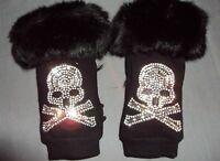 Skull Gloves Crystal Bling Rhinestone Fingerless Phone Text Black Fluffy Fur New