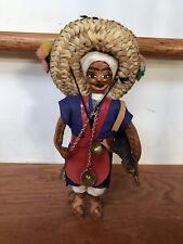 "Vintage Handmade Sewn Leather Doll Man, Sombrero, Chains Great Detail 8"" Tall"
