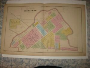 ANTIQUE 1875 GREENVILLE North Part DARKE COUNTY OHIO HANDCOLORED MAP SUPERB NR