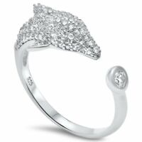Micro Pave Cz Dolphin .925 Sterling Silver Ring Sizes 5-10