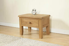 Rustic Oak Side Lamp Table Unit With Drawer | Chunky | Burnham Range