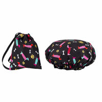 Dilly's Shower Caps / Matching Satin Bag Double Layer Hair Care Dog Design