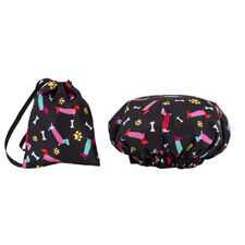 Dilly's Collections Shower Caps / Matching Satin Bag Double Layer Dog Design