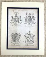 1830 Antico Incisione Conte Di Fife Duca Gordon Famiglia Crest Cappotto Braccia