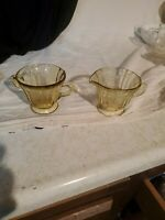VTG Yellow Amber Depression Glass Creamer & Sugar Bowl Set Federal Madrid 1930s