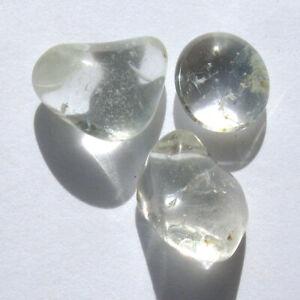 SILVER BLUE TOPAZ Crystal Healing Polished Natural Gemstone Tumbled 3pc LOT