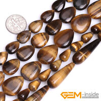 Natural Yellow Tiger's Eye Gemstone Teardrop Beads For Jewelry Making Strand 15""