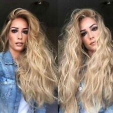 1X Lace Front Wig Synthetic Sexy Long Wig Wavy Hair Ash Blonde Heat Resistant UK