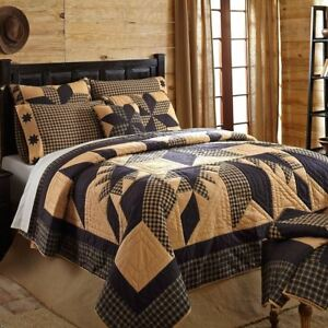 Dakota Star King Quilt Black Tan Hand Stitched Feathered Star Country Patchwork