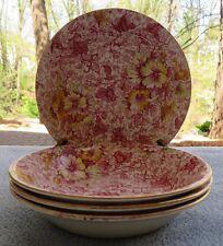 Set of FOUR Royal Winton Dorset Pink Floral Chintz Fruit / Dessert Bowls