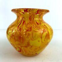 Hand Blown Art Glass Yellow Vase Millefiori Confetti Round Bouquet Orange Swirl