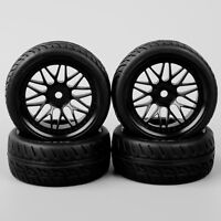 4PCS 1/10 RC On Road Speed Racing Car Rubber Treaded Tires Tyre & Wheel BBNK
