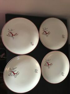 "Four Crown Devon Stockholm Dinner Plates 10"" Rare Perfect For Christmas"