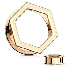 """Ear Tunnels 25mm/1"""" Gauge Body Jewelry Pair-Hexagon Rose Gold Plate Double Flare"""