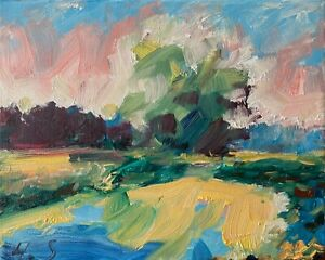 Wind Trees by the Pond Landscape Oil Painting Collectable Texture Impasto