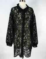 Vintage 90s Sheer Black Lace Oversized Blouse Shirt Mini Dress XL Floral
