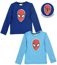 d9351073a86 Spiderman Character Boys Long Sleeve Top T-Shirt Reversible Sequins 2-8  years