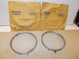 Mopar NOS Dual Headlamp Beam Retaining Rings 57 DeSoto, Chrysler, 57-58 Imperial