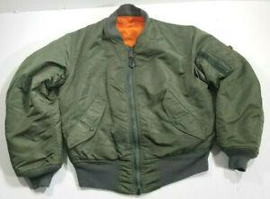 Alpha Industries MA-1 Flight Jacket Flyers Reversible Green Orange USAF Bomber S
