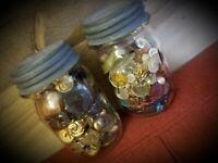 2 Vintage Jars Full Of Old Buttons