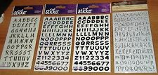 4 PKGS SHINY & GLITTER BLACK & SILVER  ALPHABET STICKER EMBELLISHMENTS