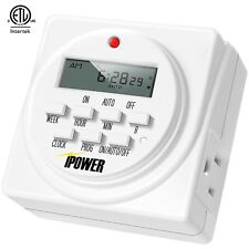 iPower Heavy Duty Digital Electric Programmable Dual Outlet Timer Plug Indoor