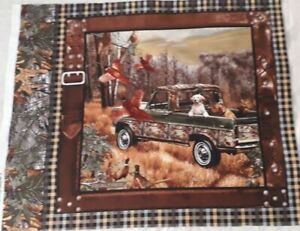 New 100% Cotton Fabric Panel Dogs and Pheasants Country Scene with Tartan Border