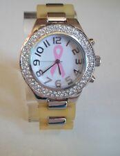 Breast Cancer Awareness Pink Ribbon Jelly Band Rhinestone Fashion Wrist Watch