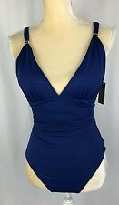 Ralph Lauren One-Piece Swimsuit 8 Slimming Fit Ruched Cobalt Blue New $120