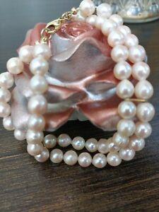 Echt Perlen Armband Mit 585er Gold,  2 Reihen mit Karabiner Verschluss 🌹🌹