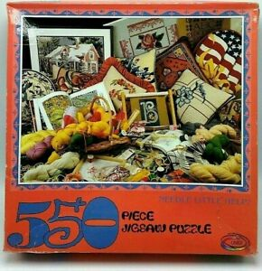 1995 Ceaco NEEDLE LITTLE HELP 550 Piece Jigsaw Puzzle Cross Stitch Embroidery