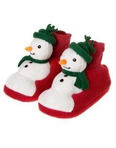 GYMBOREE HOLIDAY SLEEPWEAR SNOWMAN SLIPPERS 01 02 03 04 5 6 7 8 9 10 NWT-OT