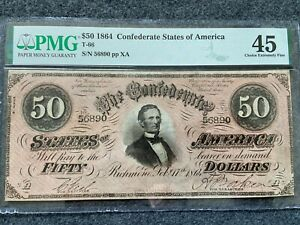 1864 Confederate States of America $50 Fifty Dollars PMG Certified