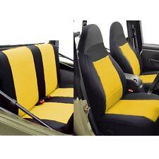 Jeep Wrangler Neoprene Car Seat Cover Full Set Front & Rear Yellow TJ 1997-02