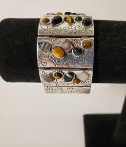 Brighton Eye Of The Tiger Brown flat wide cuff bracelet J36462 B94