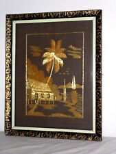 Asian Scene Made with Bamboo Houses Boats Palm Tree Ornate Frame Circa 1970's
