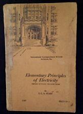 Elementary Principles Electricity Book 1937 Rare Vhtf Illustrat Etch Scranton Pa