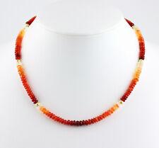 Edle Feueropal Kette Edelsteinkette Mexiko Feuer Opal Orange 925 Silber Collier