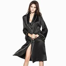 Black Nice N' Easy Lace-up Kimono Pajama Sleeves Tied Long Robe - Size S