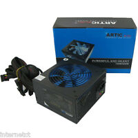 QUIET ARTIC BLUE 750W ATX PSU 8 PIN -MOLEX - PCI-E & 120mm BLUE FAN POWER SUPPLY